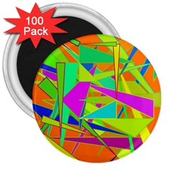 Background With Colorful Triangles 3  Magnets (100 Pack)