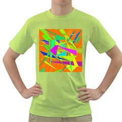 Background With Colorful Triangles Green T Shirt
