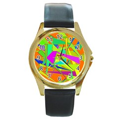 Background With Colorful Triangles Round Gold Metal Watch