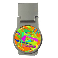 Background With Colorful Triangles Money Clips (round)