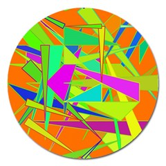 Background With Colorful Triangles Magnet 5  (round)
