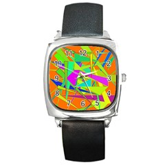 Background With Colorful Triangles Square Metal Watch