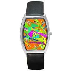 Background With Colorful Triangles Barrel Style Metal Watch