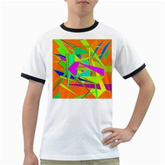 Background With Colorful Triangles Ringer T Shirts