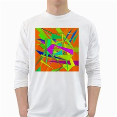 Background With Colorful Triangles White Long Sleeve T Shirts