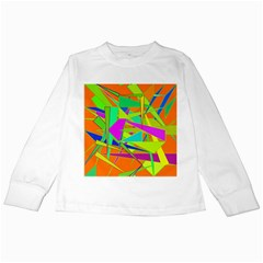 Background With Colorful Triangles Kids Long Sleeve T Shirts