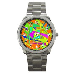 Background With Colorful Triangles Sport Metal Watch