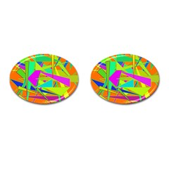 Background With Colorful Triangles Cufflinks (oval)