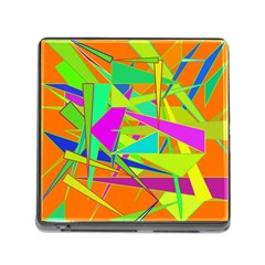 Background With Colorful Triangles Memory Card Reader (Square)