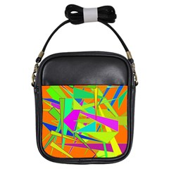 Background With Colorful Triangles Girls Sling Bags