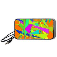 Background With Colorful Triangles Portable Speaker (black)