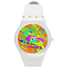 Background With Colorful Triangles Round Plastic Sport Watch (M)