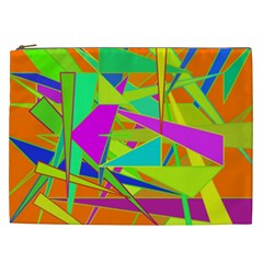 Background With Colorful Triangles Cosmetic Bag (XXL)