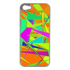Background With Colorful Triangles Apple iPhone 5 Case (Silver)