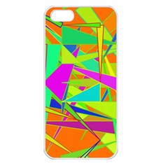Background With Colorful Triangles Apple iPhone 5 Seamless Case (White)