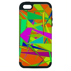 Background With Colorful Triangles Apple iPhone 5 Hardshell Case (PC+Silicone)