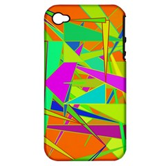 Background With Colorful Triangles Apple iPhone 4/4S Hardshell Case (PC+Silicone)