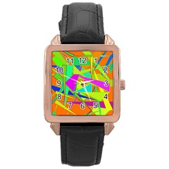 Background With Colorful Triangles Rose Gold Leather Watch