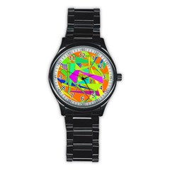 Background With Colorful Triangles Stainless Steel Round Watch