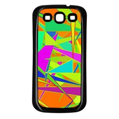 Background With Colorful Triangles Samsung Galaxy S3 Back Case (Black)