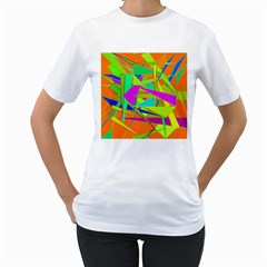 Background With Colorful Triangles Women s T-Shirt (White)