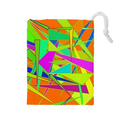 Background With Colorful Triangles Drawstring Pouches (Large)