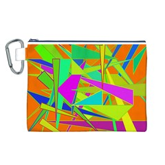 Background With Colorful Triangles Canvas Cosmetic Bag (L)