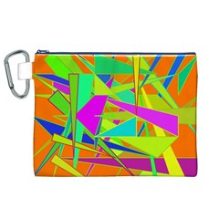 Background With Colorful Triangles Canvas Cosmetic Bag (xl)