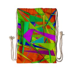 Background With Colorful Triangles Drawstring Bag (small)
