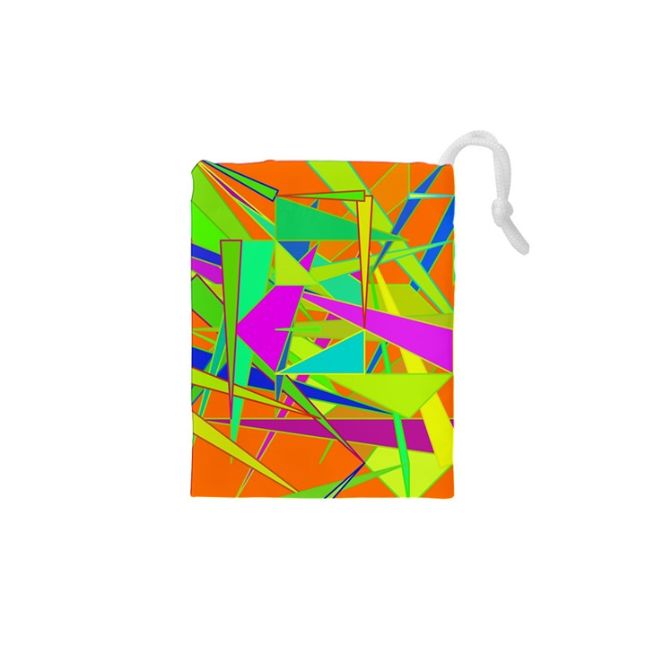 Background With Colorful Triangles Drawstring Pouches (XS)