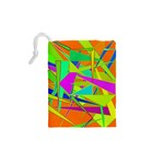 Background With Colorful Triangles Drawstring Pouches (XS)  Back