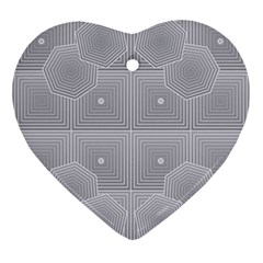 Grid Squares And Rectangles Mirror Images Colors Ornament (heart)