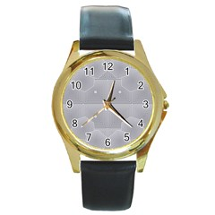 Grid Squares And Rectangles Mirror Images Colors Round Gold Metal Watch