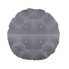 Grid Squares And Rectangles Mirror Images Colors Standard 15  Premium Round Cushions