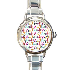 Wallpaper With The Words Thank You In Colorful Letters Round Italian Charm Watch