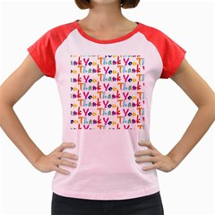 Wallpaper With The Words Thank You In Colorful Letters Women s Cap Sleeve T-Shirt