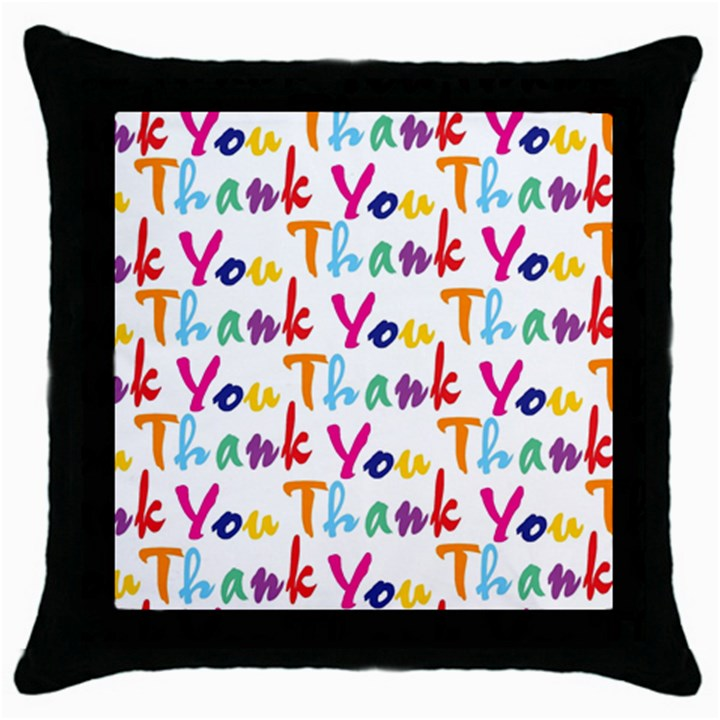 Wallpaper With The Words Thank You In Colorful Letters Throw Pillow Case (Black)