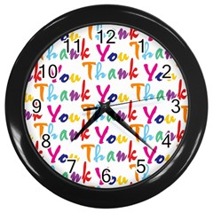 Wallpaper With The Words Thank You In Colorful Letters Wall Clocks (black)