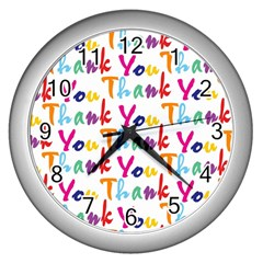 Wallpaper With The Words Thank You In Colorful Letters Wall Clocks (Silver)