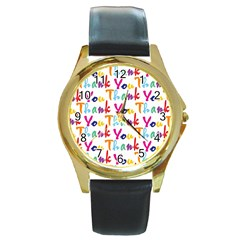 Wallpaper With The Words Thank You In Colorful Letters Round Gold Metal Watch
