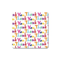 Wallpaper With The Words Thank You In Colorful Letters Square Magnet