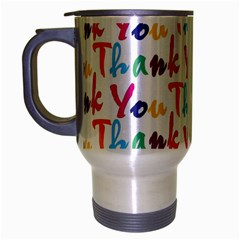 Wallpaper With The Words Thank You In Colorful Letters Travel Mug (silver Gray)