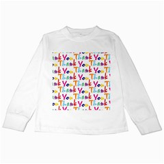 Wallpaper With The Words Thank You In Colorful Letters Kids Long Sleeve T-Shirts