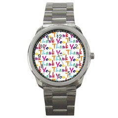 Wallpaper With The Words Thank You In Colorful Letters Sport Metal Watch