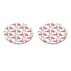 Wallpaper With The Words Thank You In Colorful Letters Cufflinks (oval)