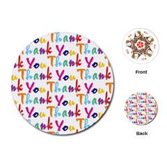 Wallpaper With The Words Thank You In Colorful Letters Playing Cards (round)