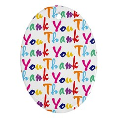 Wallpaper With The Words Thank You In Colorful Letters Oval Ornament (two Sides)