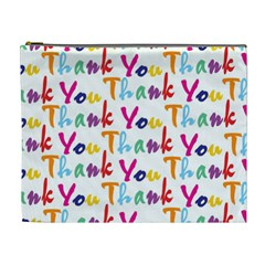 Wallpaper With The Words Thank You In Colorful Letters Cosmetic Bag (xl)