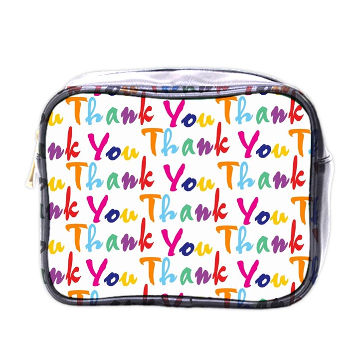 Wallpaper With The Words Thank You In Colorful Letters Mini Toiletries Bags