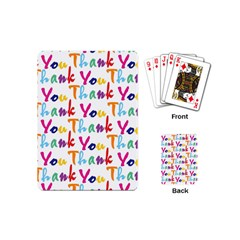 Wallpaper With The Words Thank You In Colorful Letters Playing Cards (mini)